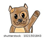 grated dog cute animal with... | Shutterstock .eps vector #1021501843