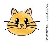 grated happy cat head cute... | Shutterstock .eps vector #1021502737