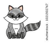 grated raccoon cute wild animal ... | Shutterstock .eps vector #1021502767