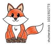 grated fox cute wild animal... | Shutterstock .eps vector #1021502773