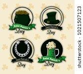 saint patricks days labels | Shutterstock .eps vector #1021507123