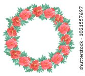 wreath with dog rose.... | Shutterstock . vector #1021557697