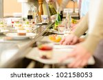 desserts at cafeteria people... | Shutterstock . vector #102158053