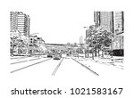 downtown street view with... | Shutterstock .eps vector #1021583167