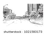 downtown street view with... | Shutterstock .eps vector #1021583173