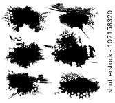 Set of ink blots - stock vector