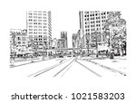 downtown street view with... | Shutterstock .eps vector #1021583203