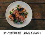 ros  duck breast with broccoli... | Shutterstock . vector #1021586017