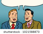 two men friends crying. comic... | Shutterstock .eps vector #1021588873