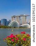 marina bay singapore asia...   Shutterstock . vector #1021591117