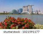 marina bay singapore asia...   Shutterstock . vector #1021591177