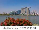 marina bay singapore asia...   Shutterstock . vector #1021591183