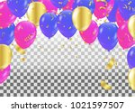 colorful balloons party banner... | Shutterstock .eps vector #1021597507