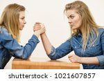 two serious competetive women... | Shutterstock . vector #1021607857