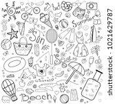 a set of doodles on a summer... | Shutterstock .eps vector #1021629787
