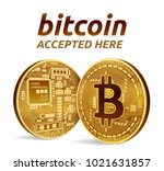 bitcoin accepted sign emblem.... | Shutterstock .eps vector #1021631857