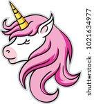 unicorn head mascot  vector... | Shutterstock .eps vector #1021634977