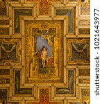 Small photo of ROME ITALY 03 JANUARY 2018 a view of the ceiling of San Sebastiano church near the appia antica road