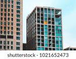 colorful business skyscraper at ... | Shutterstock . vector #1021652473