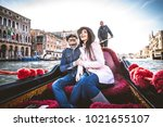 couple of lovers on vacation in ... | Shutterstock . vector #1021655107