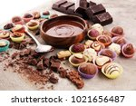 a lot of variety chocolate... | Shutterstock . vector #1021656487