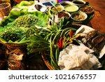 mackerel rice noodles and herb... | Shutterstock . vector #1021676557