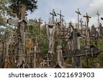 the hill of crosses  lithuanian ...   Shutterstock . vector #1021693903