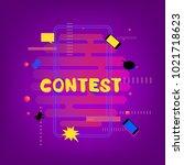 contest banner with random... | Shutterstock .eps vector #1021718623
