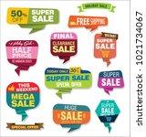 modern origami sale stickers... | Shutterstock .eps vector #1021734067