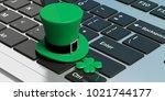 st patricks day leprechaun hat... | Shutterstock . vector #1021744177