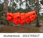 hanging safety jackets in a...   Shutterstock . vector #1021745617