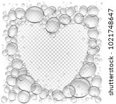 water bubbles heart frame... | Shutterstock .eps vector #1021748647
