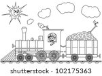 coloring book with train  ... | Shutterstock .eps vector #102175363