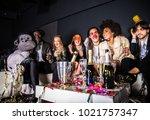 multi ethnic group of friends... | Shutterstock . vector #1021757347