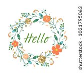 hand drawn cardwith wreath and... | Shutterstock . vector #1021795063