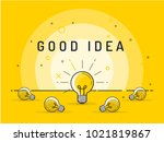 set of laying light bulbs with...   Shutterstock .eps vector #1021819867