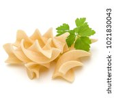Small photo of Italian twisted pasta fusilli isolated on white background. Fusilloni, rotini.