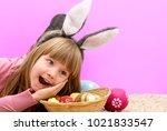 girl wearing bunny ears | Shutterstock . vector #1021833547