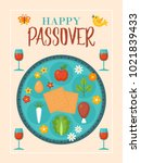 passover holiday greeting card... | Shutterstock .eps vector #1021839433