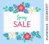spring sale typography poster... | Shutterstock .eps vector #1021843357