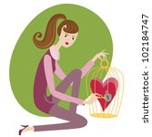cute girl with a cage and heart   Shutterstock .eps vector #102184747