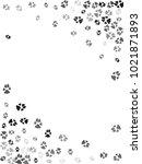 dog or cat paw black footprint  ... | Shutterstock .eps vector #1021871893