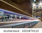 the rush hour at tower bridge... | Shutterstock . vector #1021874113