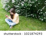 beautiful teenager girl with... | Shutterstock . vector #1021874293