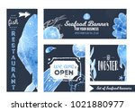 set of seafood promotional... | Shutterstock .eps vector #1021880977