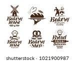 bakery  bakehouse label or logo.... | Shutterstock .eps vector #1021900987