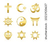 Stock vector golden world religion symbols signs of major religious groups and religions christianity islam 1021920637