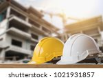 yellow and white helmet safety...   Shutterstock . vector #1021931857
