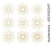 golden vintage sunburst design... | Shutterstock .eps vector #1021932247