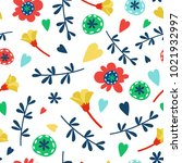 floral seamless pattern with... | Shutterstock .eps vector #1021932997